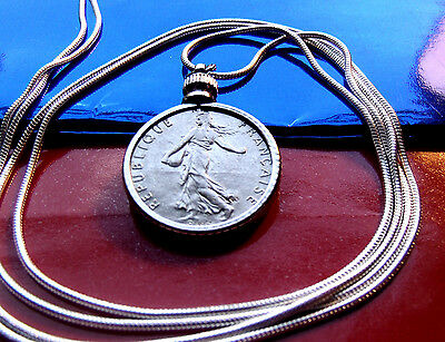 "French Maiden 1/2 Franc Pendant on a 30"" 925 Silver Snake Chain"