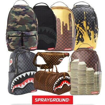 SprayGround Shark Stacks Checkered Drip Duffle Bags - FREE NEXT DAY DELIVERY