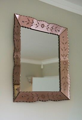 Vintage Mid Century 1940s 1950s Mirror Copper Backed Mirror frame Etched Deco
