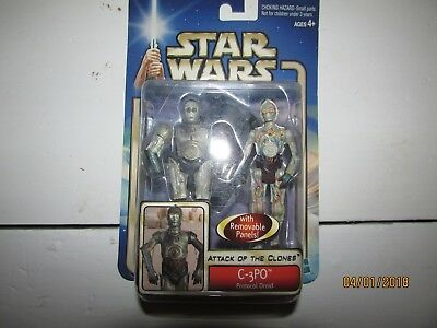 Star Wars Attack of the Clones C-3p0 Protocol Droid New In Box Removable Panels