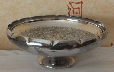Silver plate on copper,8 inch bowl, suitable as bon bon style dish or fruit bowl