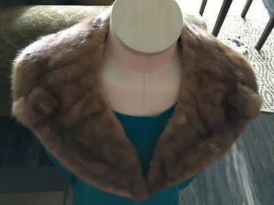 "Vintage Genuine Mink Fur Coat Collar Scarf  31.5""L"