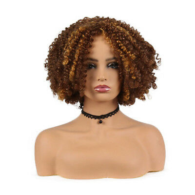 6822e833c822 Women Short Curly Hair Wig Ombre Brown Afro Kinky Curly Synthetic Hair Wigs