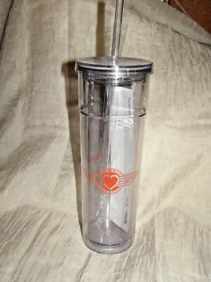 Southwest Airlines BPA Free Acrylic Spill Proof Drinking Glass W/ Lid & Straw
