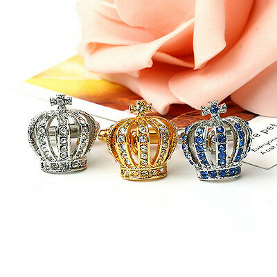 1Pair Crown Crystal Silver Mens Wedding Party gift shirt cufflinks cuff links pp