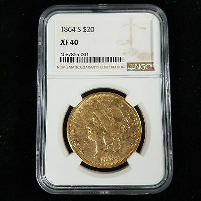 1864 S $20 American Liberty Head Gold Double Eagle NGC XF40 Coin PB5001