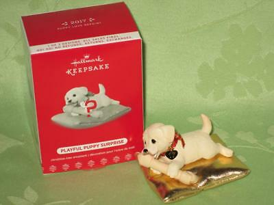 Hallmark ~ 2017 Playful Puppy Surprise ~ White Pup with Gold Pillow ~ free ship