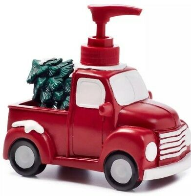 Christmas Red Pick Up Truck Lotion Soap Dispenser Farmhouse New