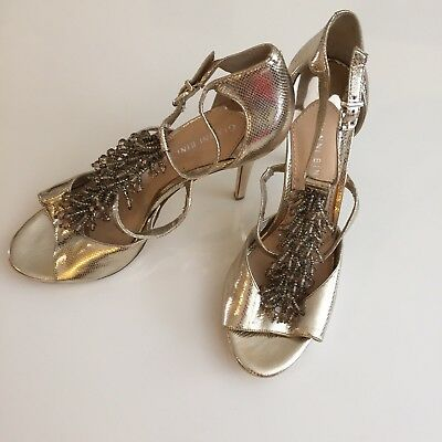 02ebf044792 Gianni Bini Metallic Gold Beaded T-Strap High Heel Shoes Sandals Pumps Size  9.5