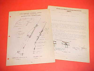 1946 Ford Mercury Coupe Sedan Zenith Am Radio Aerial Installation Service Manual