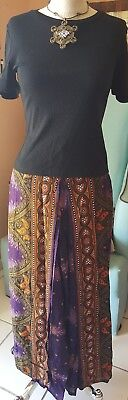 NWOT Purple Peacock Pants Plus Black Black Top Set