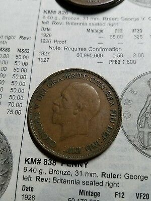 1935 Large Penny Great Britain, High Grade George V (KM# 838) -
