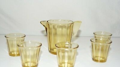 Depression Glass Vintage 30's  Akro Agate Child's PITCHER,  5 TUMBLERS  Amber