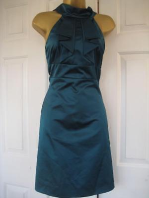 DF196 KAREN MILLEN BNWT UK 14 Teal SATIN Elegant Low Back Satin Cocktail Dress