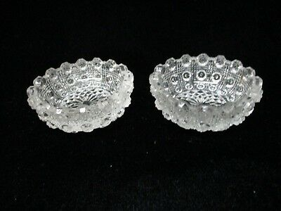 Vintage Matched Set Of Two Glass Salt Dips Starburst Pattern