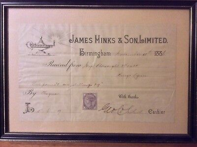 Rare Oil Lamp Receipt Signed By Hinks & Son Cashier George Coles On 10 Nov 1886