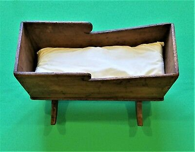 Very Nice Rare Antique Early 1800's Square Nail Hand Crafted Wood Doll Cradle