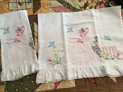 New Pair of Pillowcases Southern Belle Embroidered, pink with ruffle
