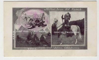 GREAT PMC Postcard 3 Views Indians @ Miller Brothers 101 Ranch Bliss Oklahoma