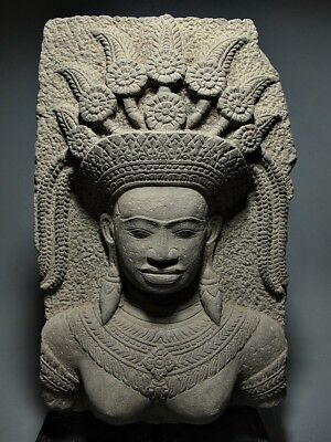 KHMER SCULPTURE SANDSTONE IMAGE GODDESS APSARA FIGURE RELIEF FRAGMENT 16/17th C