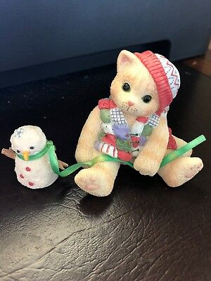 Enesco Calico Kittens One Look From You Melts My Heart Christmas Snowman