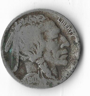Rare Very Old Antique 1917 US Buffalo Indian Nickel Collection Coin USA Cent W18