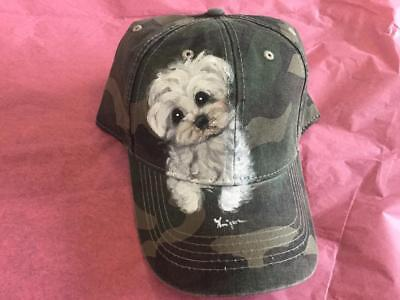 Maltese Hand Painted  Camo Cap Hat