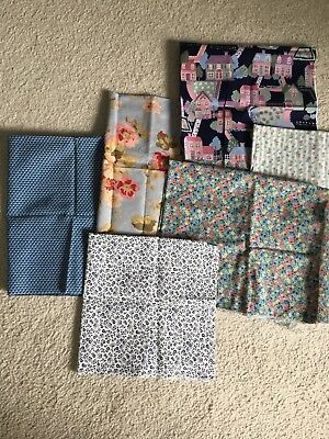 Lot Of 6 VINTAGE Blue fat quarters 100% Cotton Quilting Fabric