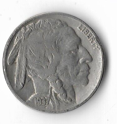 Rare Very Old Antique 1937 US Buffalo Indian Nickel Collection Coin USA Cent W25