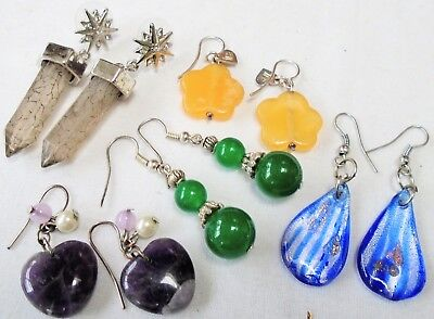 Five pairs vintage earrings (sterling silver & agate, glass, amethyst hearts)