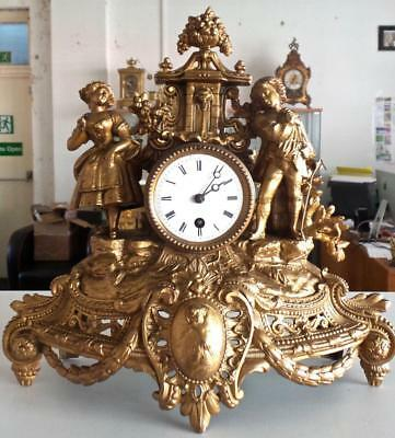 Antique French 19th c Twin Figural 8 day Mantle Clock