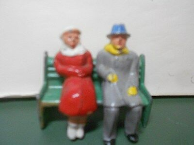 "Barclay's Vintage Lead Figures 3 Piece ""Man and Woman Sitting on Bench"" Winter"