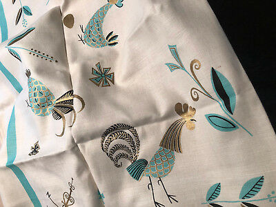 Vintage Mid-century Roosters / Chicken Tablecloth & 4 Napkins - Aqua & Gold MCM