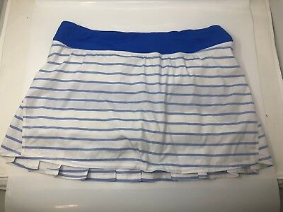 Authentic Lululemon Pace Setter White With Blue Strips Running Skirt Sz 12 Tall!