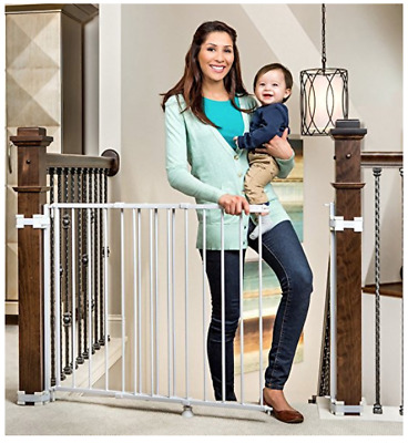 2-In-1 Stairway and Hallway Baby Gate, Includes Banister & wall kits, Ships free