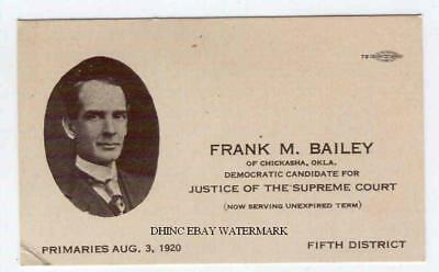 1920 Palm Card Frank Bailey Democrat Candidate Chickasha Oklahoma Supreme Court