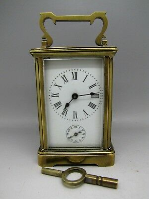 ANTIQUE BRASS CARRIAGE ALARM CLOCK 5 GLASS maybe FRENCH needs service