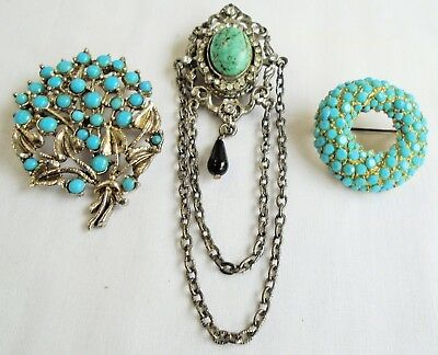 Three large vintage silver metal & turquoise paste brooches