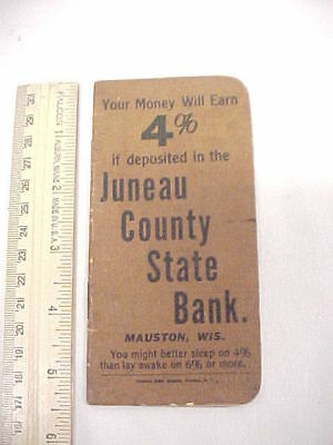 Small Antique Juneau County State Bank Memo Note Pad Booklet