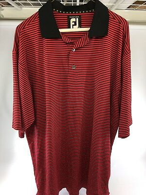 FootJoy FJ Golf Mens ProDry Lisle Stretch Black Red Stripe Polo Shirt Large