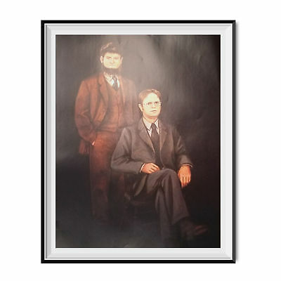 Mose & Dwight Schrute Portrait Painting Poster The Office TV Show Dunder Mifflin