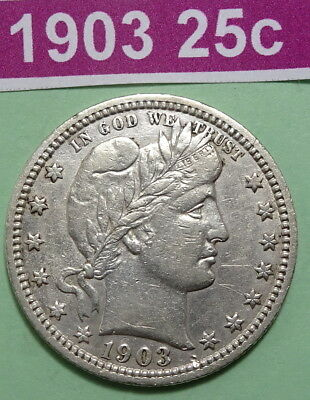 1903 Barber Quarter Us Silver Coin Extra Fine Details Evidence Of Old Cleaning