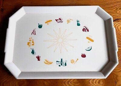 Retro Heavy Molded Plastic Food Serving Tray, Great Food Art, Marked
