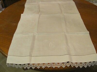 Beautiful Vintage Antique Huck Linen Floral Damask Large Towel w Tatted Edge