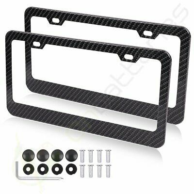 2x Carbon Fiber Black Wide-brimmed License Plate Frame with Screw for Lexus