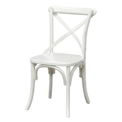 "35"" Tall Dining Chair Solid Pine Wood Painted White Hand Crafted Criss Cross"