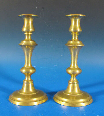 Antique Pair (2) c 1830 English Solid Brass Push Up Candlesticks Holders #1 yqz