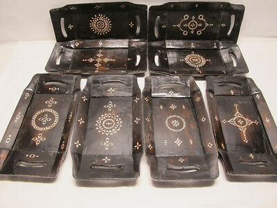 (8) Antique Early-Mid 19th C Indo-Portuguese Mother of Pearl Inlay Tea Trays yqz