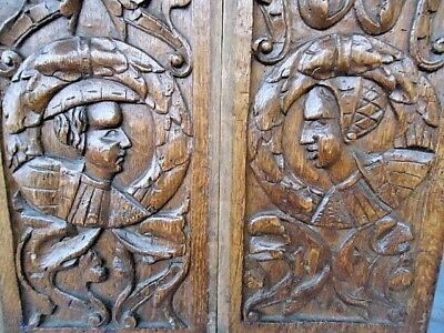 Two Rare 16Th Century  Oak Carved Gothic Tracery  Romayne Portrait Panels ,