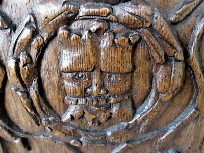 Rare 17Th Century Small Oak Carved Coffer Panel, Central Carved Crowned Head